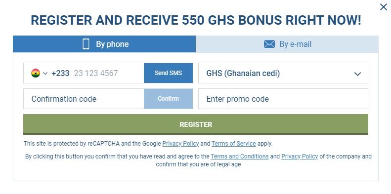 1xBet Nigeria registration