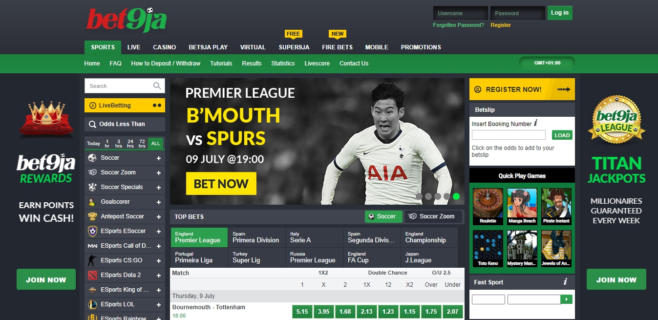 bet9ja sport betting in Nigeria
